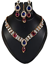 Spangel Fashion Traditional Gold Plated Blue & Red Stone Necklace Set With Earring For Women And Girls