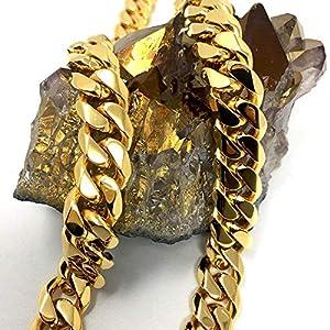 Collana a catena cubana, in oro 18 ct, per uomo/donna, 11 mm, 18 ct, taglio a diamante, con chiusura massiccia e spessa, stile hip hop e 14ct metallo con base placcato oro, cod. NA