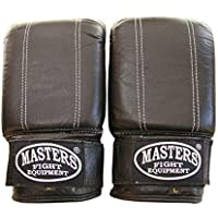 Masters Fight Equipment RP de 3 Piel dispositivo Guantes Saco de arena Guantes de boxeo, kickboxing y muay thai, negro
