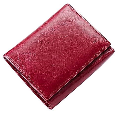GSPStyle Unisex Oil Leather Button Wallet Short Trifold Women Purse Handbag Clutch Bag Colour Hot