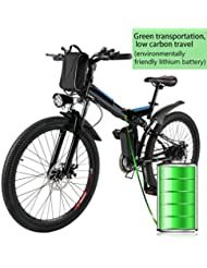Befied Folding Electric Mountain Bicycle 26 Inch Electric Bike Brake Voltage: 36V/250W Shimano 7th Aluminum Frame Lithium Ion Battery For Mens, UK Plug Black【EU STOCK】