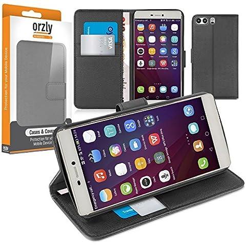 Orzly® - Multi-Functional Wallet Stand Case para HUAWEI P9 SmartPhone (2016 Version - 5,2 Pulgadas Modelo Teléfono Móvil) - FUNDA con PORTFOLIO más SOPORTE INTEGRADO y Tapa magnética -