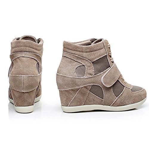 Shenn Donna In cima Cuneo Lavoro Informale Lacci Fibbia Sneaker Scarpe Cachi