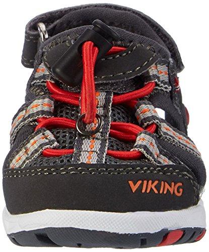 Viking Thrill, Sandales Bout fermé mixte enfant Grau (CHARCOAL/RED)