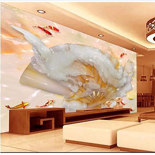 Weaeo Benutzerdefinierte 3D Fototapete Wohnzimmer Wandbild Fan Phoenix Jade Carving 3D Bild Sofa Tv Hintergrund Vliestapete Für Wand 3D-250X175Cm