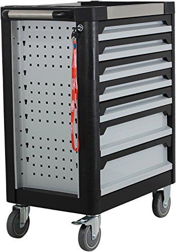 Ultra Edition Werkstattwagen | 7 Schubladen - 5 gefüllt mit Handwerkzeug | Werkzeugwagen abschließbar + COB Akku Arbeitsleuchte - 4