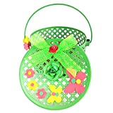 PAISLEYS Bella Butterfly-Themed Round Gift Basket for Children (Reusable), Green Colour, Metal