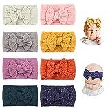 Makone Baby Stirnband, Stretchy Dot & Nylon Haarband Mit Bögen Pom Pom Bun 5,5 Zoll Große Haarschleife Stirnband Für Säuglingsbabys