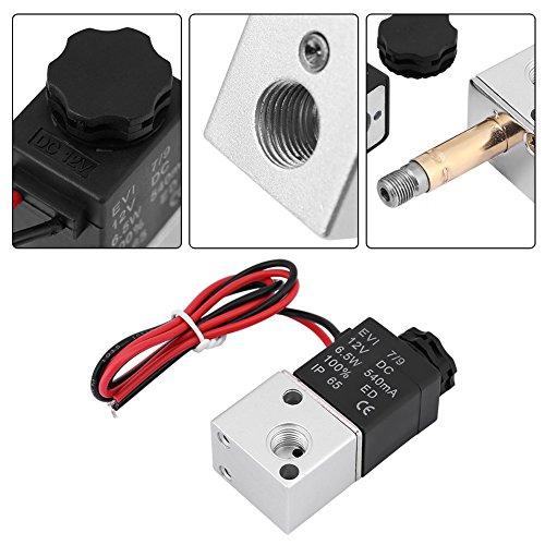 Magnetluftventil,Solenoid Air Valve 3V1-06 DC 12V / 24V 3 Wege 2 Position 1/8 Zoll BSP 1,0 MPa IP65 Normalerweise geschlossenes pneumatisches Magnetventil für Luft, Schutzstufe:IP65,0-0.08MPa(DC12V) -