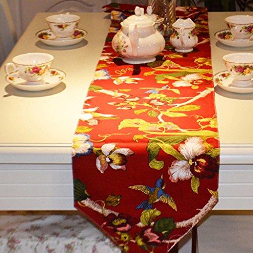 YXX- Européen Classique Bambou Feuille Fleur Chemin de Table Américain Bar À Manger Café Thé Bureau Shoebox TV Cabinet Coton Nappe Couverture Serviette ( Couleur : Rouge , taille : 30*160cm )