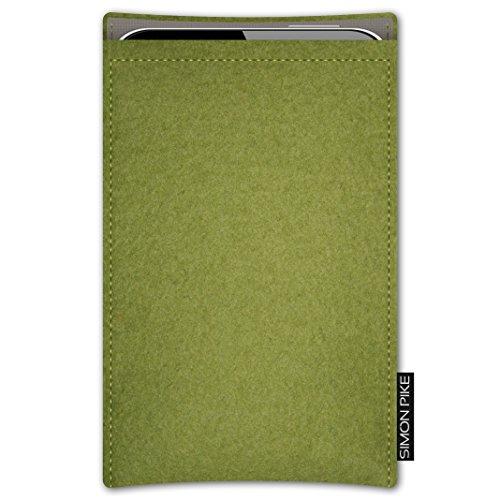 SIMON PIKE Apple iPhone SE/5S/5C/5 Filztasche Case Hülle 'Boston' in petrol 15, passgenau maßgefertigte Filz Schutzhülle aus echtem Natur Wollfilz, dünne Tasche im schlanken Slim Fit Design für das iP gruen Filz (Muster 7)