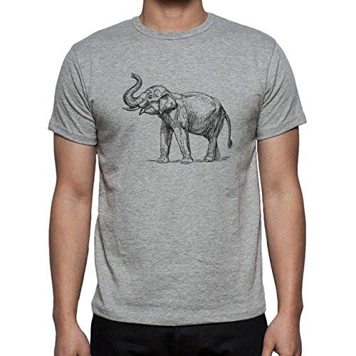 Elephant Big Happy Bautigul White And Black Herren T-Shirt Grau