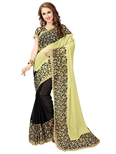 Elevate Women Embroidered Bollywood Georgette, Net Saree (Green, Black)