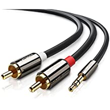 Cable Audio Estéreo, UGREEN Cable Adaptor de Jack 3,5mm Macho a 2RCA Macho con Conectores Metálicos para Conexión entre Teléfono, iPod, Smart TV, Reproductor MP3, Tablet, PC al Amplificador, Sistema Estéreo y etc. (5M)