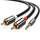 UGREEN 3m Stereo 3.5mm Klinke auf 2 Cinch Y Splitter Chinch Kabel Audiokabel Klinkenkabel mit Winzigem Metallstecker