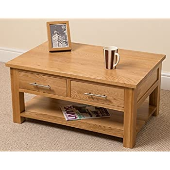 Eton solid oak furniture storage coffee table with drawers Amazon