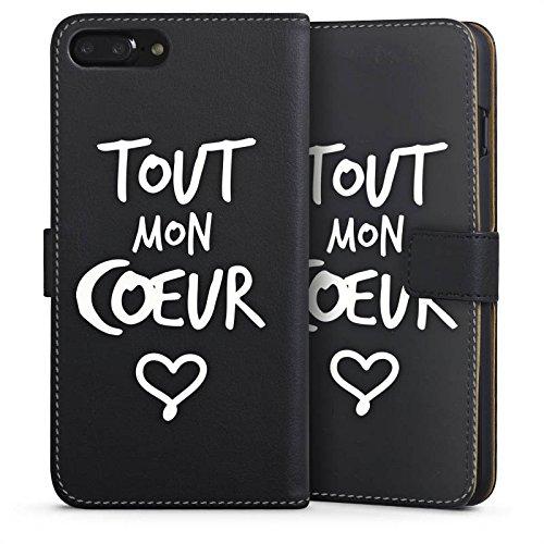 Apple iPhone 6 Silikon Hülle Case Schutzhülle Tout mon coeur Liebe Herz Sideflip Tasche schwarz