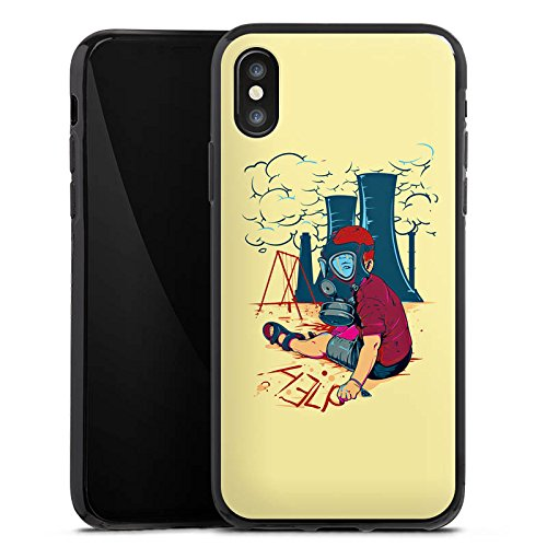 Apple iPhone X Silikon Hülle Case Schutzhülle Atomkraft Graffiti Umwelt Silikon Case schwarz