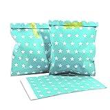 25 Frau Wundervoll Papiertüten türkis mit weißen Sternen / Geschenktüten Kindergeburtstag / Candy Paper Bags / Candy Bag / Candy Bar