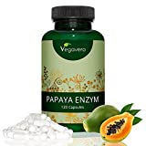 Papaya Enzym Hochdosiert | 1.500 mg Papain pro Tagesdosis | 120 Kapseln | Hochwertiger Papaya Rohstoff | Immunsystem - Stoffwechsel - Verdauung | 40-Tage-Kur | Vegan und OHNE Zusatzstoffe | Vegavero