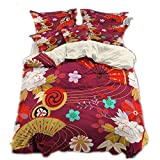 CHAOSE Japanisches Serienmuster Bettwäsche Set Gute Qualität Superweiche Polyester-Baumwolle,3-teilig (1 Bettbezug + 2 Kissenbezüge)