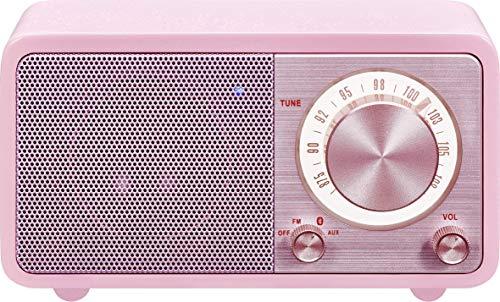 Sangean WR-7 tragbares Desktop-Radio (FM-RDS-Tuner, Bluetooth, AUX-In, integrierter Lautsprecher, Akkubetrieben(aufladbar)) , Rosa/Pink