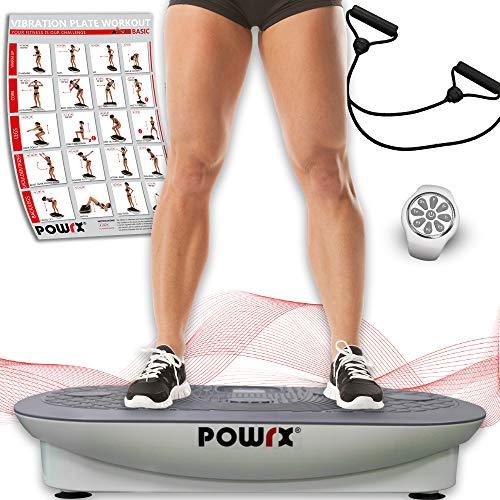 Vibrationsplatte Profi rx3000 inkl. Workout I Fitness Trainingsgerät inkl. Fernbedienung und Tubes Widerstandsbänder I Große Rutschfeste Fläche für Ganzkörper Training