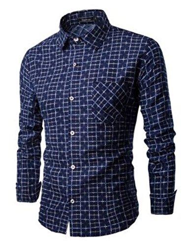 Men's Camisa Social Masculina Long Sleeve Plaid Shirts blue