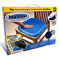Egg Sitter Seat Cushion With Non-Slip Cover Breathable Honeycomb Design Absorbs Pressure Points, Blue/Black, W 37.6 x H 35.2 x L 5.6 cm