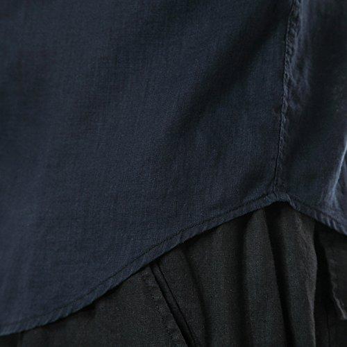 SK Studio Herren Leinen Hemden Mit Tasche Einfarbig Langarm Dünn Hemd Jacke Mit Manschettenknöpfe Weiß Schwarz