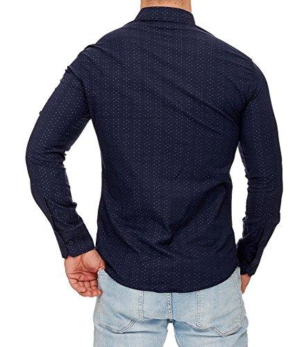 TAZZIO - Chemise imprimée pour homme Chemise 708 bleu marine - Bleu Bleu