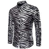 CHENS Manches Longues/Slim fit/Classique/Chemise d'été pour Hommes Zebra Print Slim Fit à Manches Longues Casual Chemise de Ville pour Homme Chemise Simple Poitrine