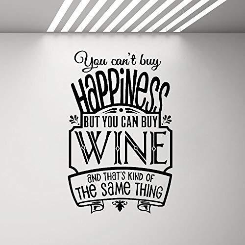 Spiel Wandaufkleber Pub Cafe Zeichen Poster Wandaufkleber Sie können kein Glück kaufen, aber Sie können Wein kaufen Wandtattoo Zitat Wohnkultur Küche Schlafzimmer 88X57 cm -