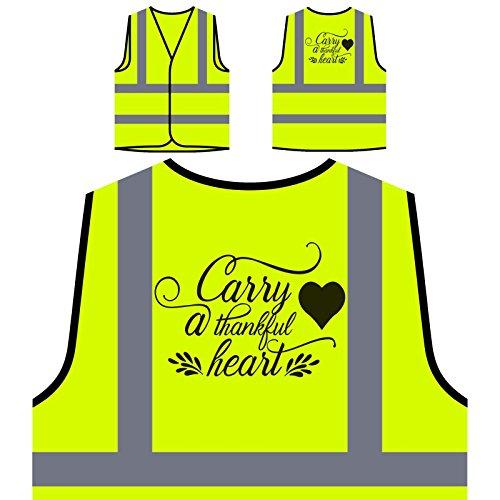Ein Dankbares Herz Tragen Personalisierte High Visibility Gelbe Sicherheitsjacke Weste t514v (Tragen Dankbar)