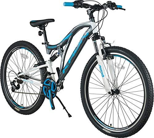 KRON ARES 4.0 Fully Mountainbike 27.5 Zoll | 21 Gang Shimano Kettenschaltung mit V-Bremse | 16.5 Zoll Rahmen Vollgefedert MTB Erwachsenen- und Jugendfahrrad | Grau & Blau