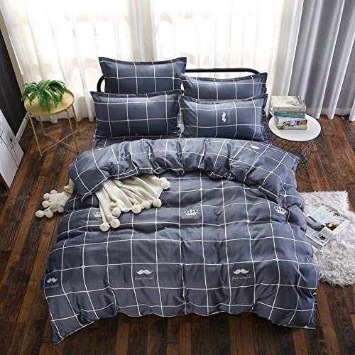 JSDJSUIT Bettwäsche gesetzt Blaues Gitter Tröster Bettbezug elastische Blätter Tagesdecke Bettwäsche Set Doppelbett Queen Twin Bettwäsche-Queen 4pcs (Blau Zebra Tröster Twin)