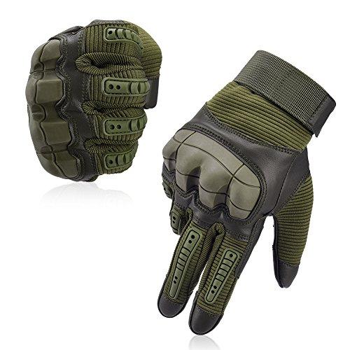 Vbiger Motorradhandschuhe Taktische Handschuhe Vollfinger Handschuhe für Motorrad Fahrrad Airsoft Militär Paintball (M, Stil 3-armeegrün)