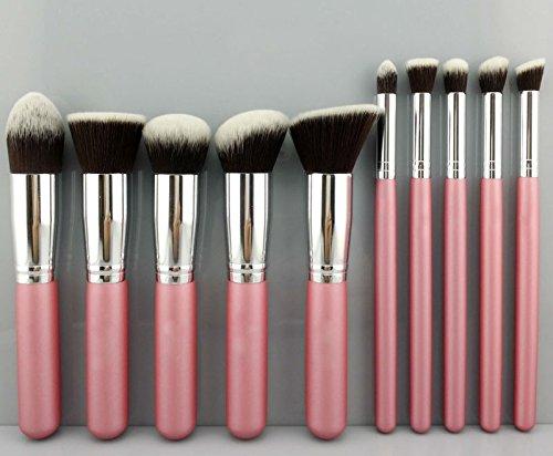 akldigital 100% Premium Kabuki-Make-up-Pinsel Foundation Blending Blush Lidschatten Face Powder Contour Kit, Pink & Silver Farbe