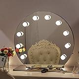 Chende Schminkspiegel mit Dimmbar Glühbirnen, LED Beleuchtet Makeup-Spiegel für Frisierkommode, Umkleideraum, 12 Freie Glühbirnen (Rund Rahmenlos)