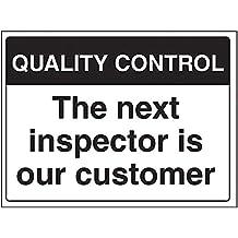 """vsafety 75015bf-s General señal de control de calidad, """"La siguiente Inspector es nuestro cliente"""", autoadhesivas, paisaje, 400mm x 300mm), color negro"""