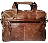 BEAR & GOODIES Toskana, Cognac-braun echtes Rinds-leder, Laptoptasche Umhängetasche Aktentasche Ledertasche Bürotasche für Laptop bis 15,4 Zoll