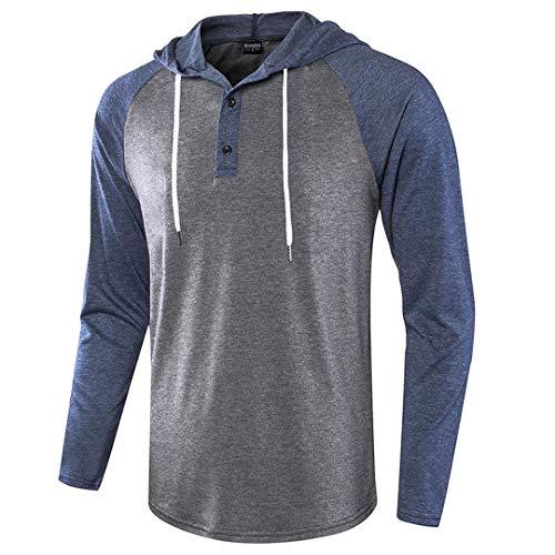 Herren Jacquard gestrickte lässige Langarm Raglan Henley Jersey Hoodie T-Shirt Dark Blue Dark Grey XL