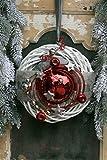 Winterkranz Doppelkranz Wandkranz Nr.29 Türkranz weiß 30 cm wahlweise mit LED-LICHTERKETTE mit roter Kugel weiss silber grau modern Türdeko Winter Weihnachten Türdeko Türdekoration (mit Lichterkette)