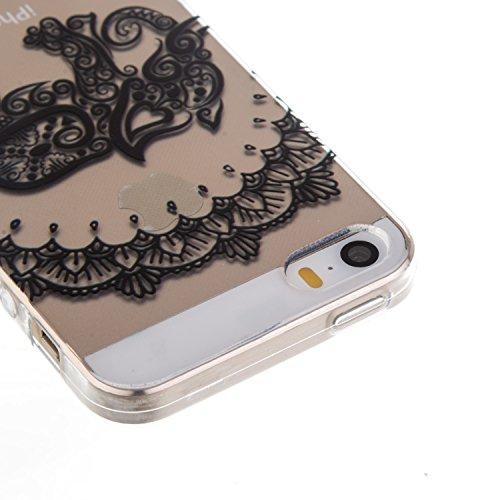 Coque Housse Etui pour iPhone SE, iPhone 5S Coque en Silicone, iPhone SE / 5S / 5 Slim Coque Transparent Soft Etui Housse, iPhone SE / 5S Silicone Case TPU Protective Gel Cover Skin, Ukayfe Etui de Pr éléphant Fleur
