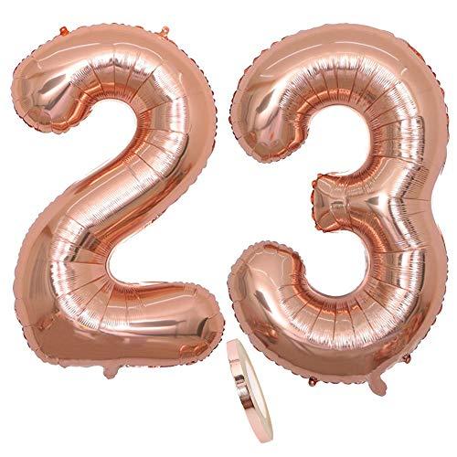 2 Globos Número 23, Number 23 Globo Chica de oro rosa, 40 'Figuras de globos de oro rosa inflable con forma de helio, Globo de oro rosa para fiesta de cumpleaños, Fiesta de graduación (xxxl 100 cm)