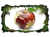3D Wandtattoo Apfel Europa Karte Afrika Weltkarte Bild selbstklebend Wandbild sticker Wohnzimmer Wand Aufkleber 11H166, Wandbild Größe F:ca. 140cmx82cm