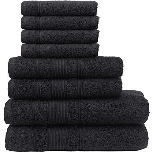 Qute Home Handtuch-Set, 2 Badetücher, 2 Handtücher und 4 Waschlappen, Spa & Hotel Handtücher, schnelltrocknend, 100% türkische Baumwolle, Handtuch-Sets für Badezimmer, Duschtuch (Schwarz, 8 Stück)