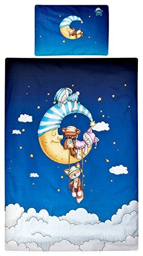 Schlafmützen Bettwäsche von Aminata Kids – bunter Bettbezug á 100x135 cm Kinder Jungen Mädchen Baumwolle + Reißverschluss Mond Sterne Kinderbettwäsche Tiere Bär Katze Schaf Fuchs Bezug Ganzjahr (Sterne Und Mond Bettdecke)