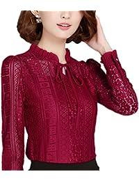 bbe7243822158a Cheerlife Elegant Damen Spitzenshirt Spitzen Bluse Langarm Oberteil Tunika  OL Business Party T-Shirt Tops