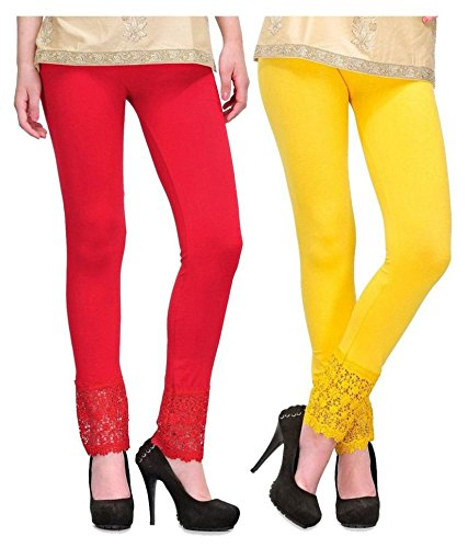Pixie® Designer Bottom Lace Leggings (Red, Yellow) - Free Size